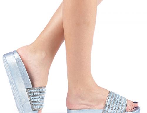 Papuci Trinity N-L52SQ Jinela de damă cu pietre și ștrass, albaștri