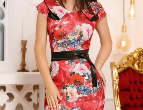 Rochie office Averie U-V25LW Tonia roșie cu imprimeu floral și bandă neagră