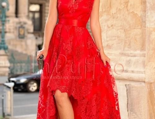 Rochie de seară Jazmyn Y-J258MW asimetrică roșie din dantelă cu decolteu în V