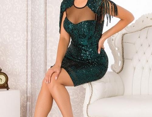 Rochie de seară Keely J-B2SQ Geena verde cu franjuri și paiete, mulată, cu bust buretat