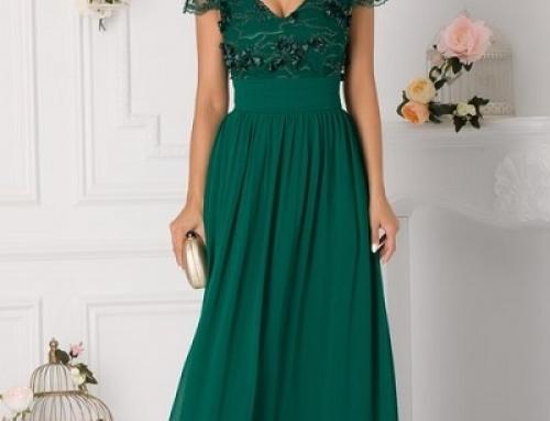 Rochie de ocazie Casey K-Q47 LaDonna lungă verde cu mărgele și broderie florală