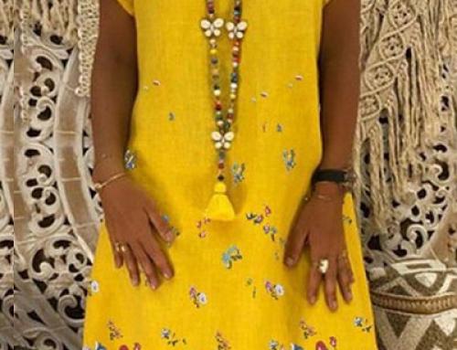 Rochie galbenă Milana J-F25LQ vaporoasă lejeră cu anchior și imprimeu floral