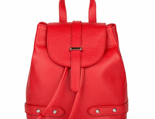 Rucsac Y-L25SQ Giulia Monti de damă roșu din piele naturală, cu mâner