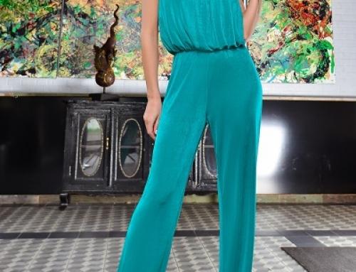 Salopetă de ocazie K-M5SWQ Yesenia lungă turquoise cu elastic în talie