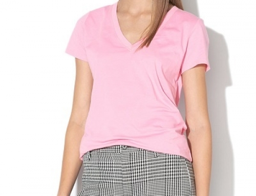 Tricou damă GAP J-K25WQ Londyn din bumbac, roz pastel, cu decolteu în V