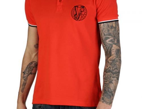 Tricou Versace Jeans J-H5W Wayne polo pentru borbați, din bumbac, roșu