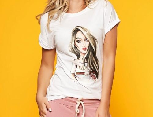 Tricou Janet SunShine K-N25LW de damă din bumbac cu imprimeu grafic