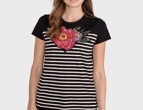 Tricou de damă H-K53JW Twinset lejer din bumbac cu imprimeu în dungi