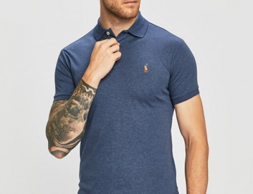 Tricou bărbați Ralph Lauren J-V85WQ stil Polo din bumbac, slim, albastru