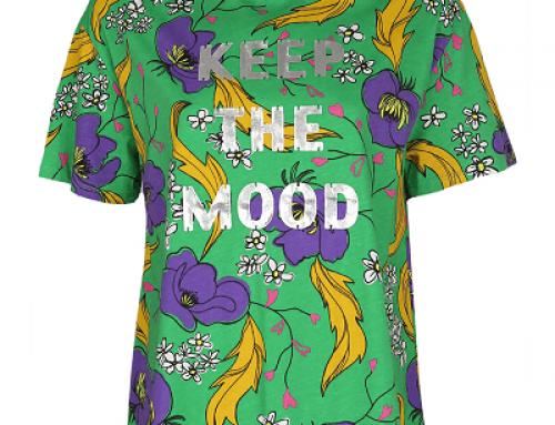 Tricou ZARA U-D52WQ Daphne de damă lejer verde cu imprimeu floral, bumbac