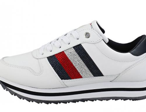 Pantofi sport damă Tommy Hilfiger J-D25VW Retro Crystal din piele naturală, albi