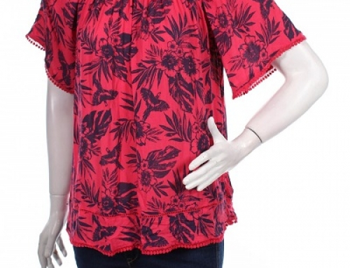 Bluză de damă Q-J52HY Amari lejeră cu imprimeu și mâneci scurte
