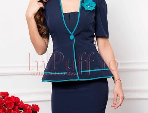 Costum damă elegant Selene J-V72LQ bleumarin cu fustă conică și sacou cu mâneci scurte