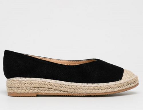 Espadrile Corinne H-W85Q Answear de damă negre cu vârf rigizat și talpă plată