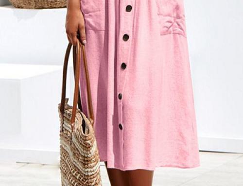 Fustă casual Milana Y-H55WQ roz din bumbac cu nasturi în față