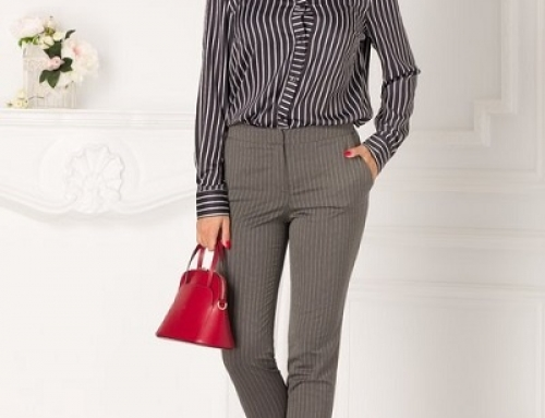 Pantaloni office Milena S-J52SQ Theo de damă drepți gri cu dungi subțiri