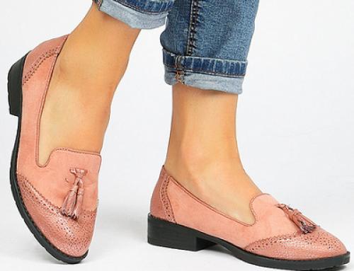 Pantofi cu toc plat Megan J-S55QL Yareli de damă roz casual, cu ciucuri