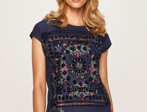 Tricou Desigual V-J5L Willow de damă cu broderie, din bumbac, bleumarin