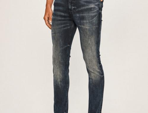 Blugi bărbați Tommy Jeans NH24SQ Fred Skinny albaștri cu talie medie