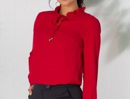 Bluză elegantă Rebeca HN-K5DSQ de damă roșie cu volănașe și decolteu în V