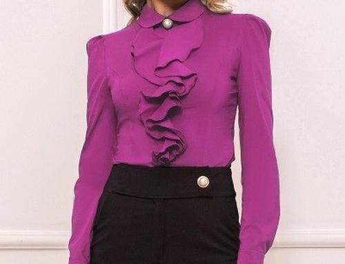 Cămașă damă elegantă Loraine NDW254LSQ violet cambrată cu volănașe