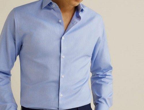 Cămașă bărbați Mango LJ25vSQW Scott elegantă din bumbac, albastră