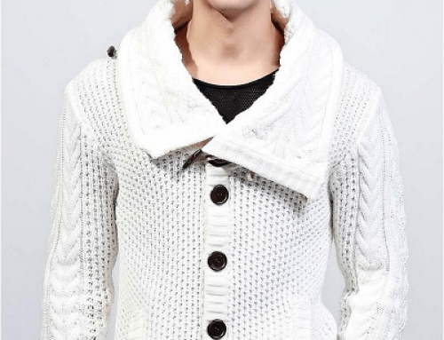 Cardigan bărbați Ramon YJ86WQ tricotat alb cu guler înalt și nasturi