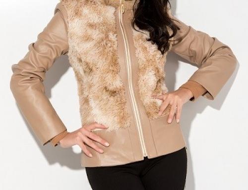 Geacă scurtă Rubie HW697SQ de damă cambrată cu blăniță, din piele eco