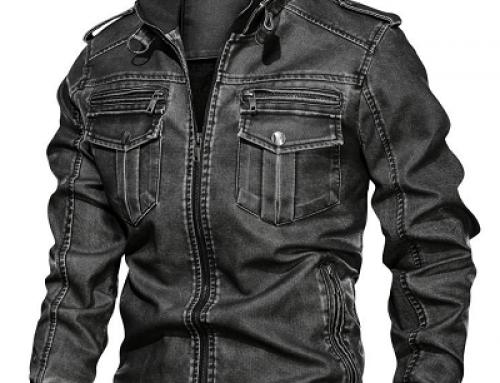Geacă Biker Salman JQ-L64Y scurtă bărbați, slim din piele ecologică, neagră