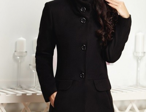 Palton cambrat Miriam FJ692HYK de damă elegant negru matlasat