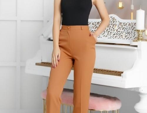 Pantaloni office Sophie HT951VY de damă conici, camel, din bumbac