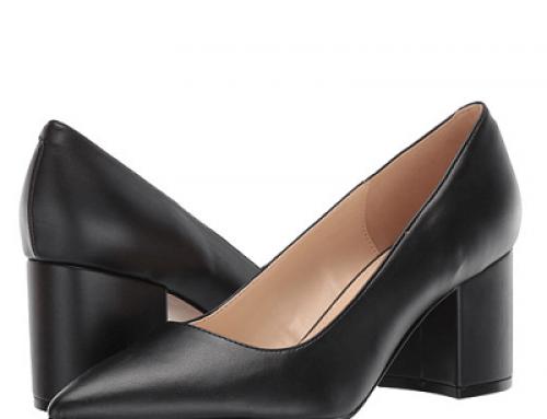Pantofi damă Nine West YH41-2WL Elma eleganți negri cu toc gros și vârf ascuțit
