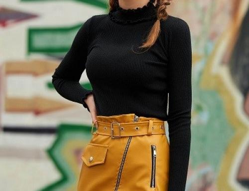 Pulover damă Delores J-K46VQZ negru cu volănașe la guler, din reiat tricotat