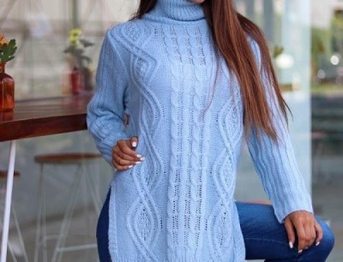 Pulover lung Delaney JS658LKQ de damă tricotat cu guler înalt, albastru