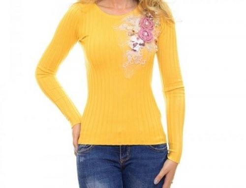 Pulover mulat Glenna J85UVQ de damă galben cu flori 3D