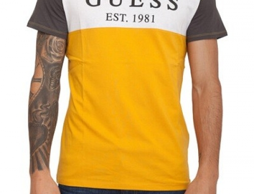 Tricou bărbați Guess Q-K85BJ Reuben din bumbac galben cu imprimeu cu stele