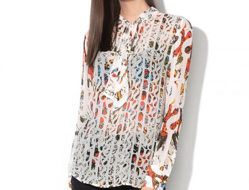 Bluză din mătase Desigual B9MH Gail de damă cu imprimeu multicolor