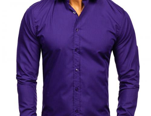 Cămașă elegantă Ruben DK6N bărbați violet din bumbac slim fit