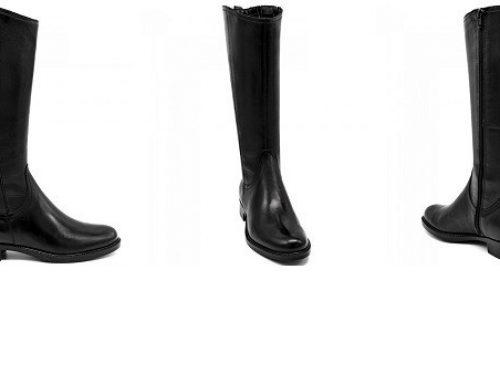 Promoția zilei: 11% reducere cizme damă Margot din piele naturală negre cu talpă plată