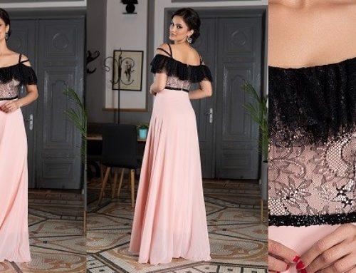 Promoția zilei: reducere -26% rochie de ocazie Mistery lungă din dantelă și voal cu strass