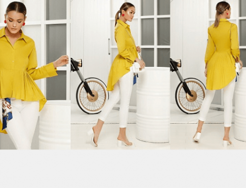 Promoția zilei: reducere -23% cămașă damă Sheena asimetrică casual cu peplum
