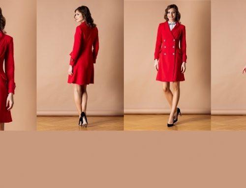 Promoția zilei: -20% reducere palton Sandy roșu elegant cambrat midi cu nasturi și buzunare