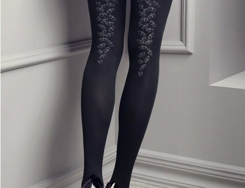 Ciorapi damă Arline H8MY Patrizia eleganți negri cu model decorativ