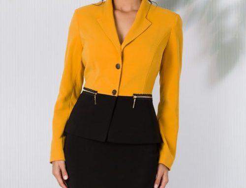 Costum de damă office Kerri HL7VK galben cu fustă conică și sacou cambrat