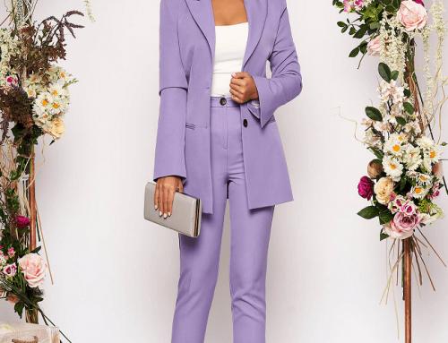 Costum damă Virgie N7KH Starshiners office lila cu sacou cambrat și pantaloni