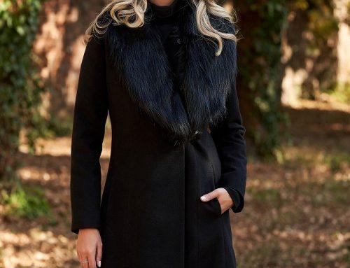 Palton elegant Jewel N8KL LaDonna de damă din lână negru cu guler cu blană