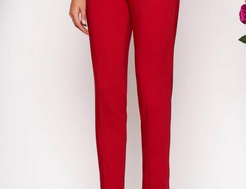 Pantaloni de damă Mildred D45M office roșii conici cu talie medie