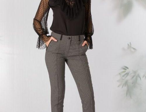 Pantaloni office Ladonna BY9DV Kristin de damă negri cu imprimeu abstract