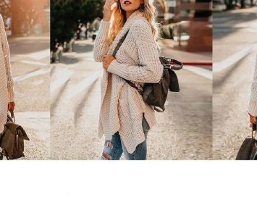 Promoția zilei: -45% reducere cardigan damă Lenora lung tricotat și gros cu buzunare
