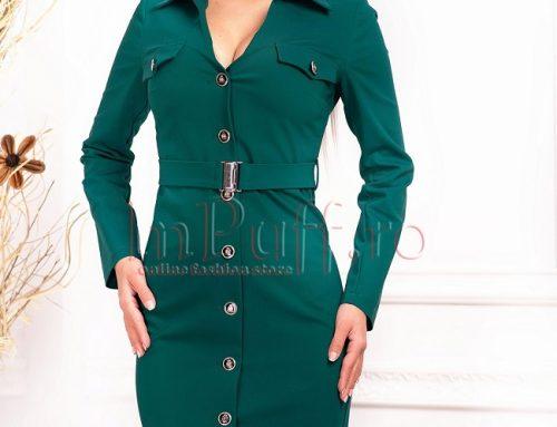 Rochie office Jayne H5UL verde cu cordon, nasturi în față și decolteu în V